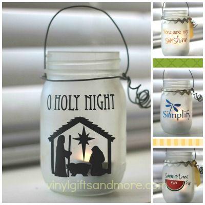 Jar Lantern Designs - Vinyl Crafts - Frosted Jar Crafts,