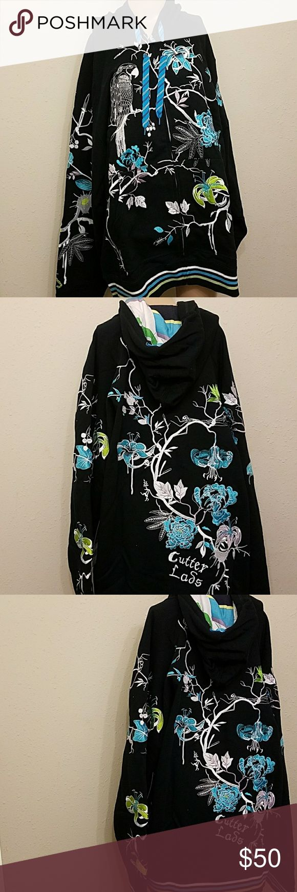 Artful Dodger Flower Hoodie 3XL NWT Beautiful and intricately adorned with embroidered appliques.  Drawstring Hoodie with striped interior. Artful Dodger Shirts Sweatshirts & Hoodies