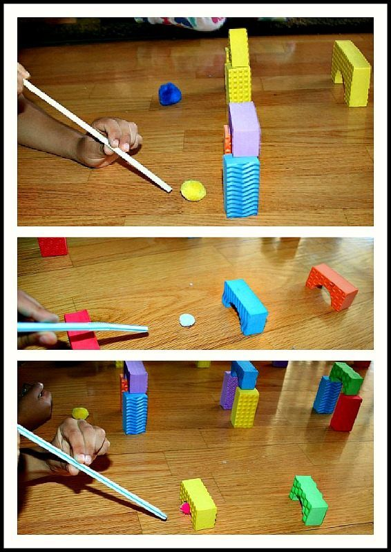 Blow Pom Poms Through Buildings... could also use turkey baster for some fine motor strengthening!
