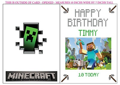 Pin By Catalina Katie On Minecraft Party Ideas Personalized Birthday Cards Personalized Birthday Birthday Cards
