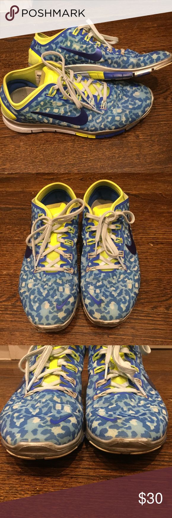 Leopard print Nike free 5.0 running sneakers Lime green and blue leopard print Nike free 5.0 running sneakers. Size 8. Only worn to an inside gym. Also have same pair in a silver and black leopard print. Nike Shoes Athletic Shoes