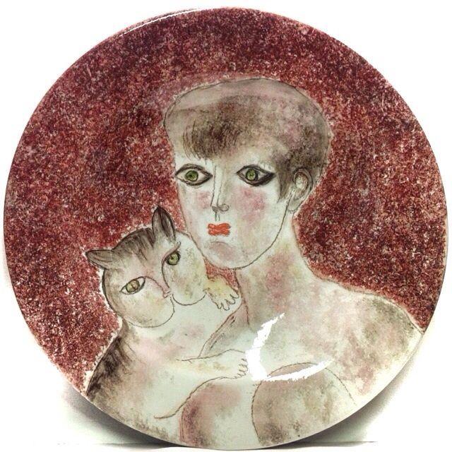 FRANCO GENTILINI VOLTO DI DONNA CON GATTO DIPINTO SU PIATTO IN CERAMICA 52cm ☲☲☲☲☲☲☲☲☲☲☲☲☲☲☲☲☲☲☲☲ PORTRAIT OF A WOMAN WITH CAT ON CERAMIC PLATE