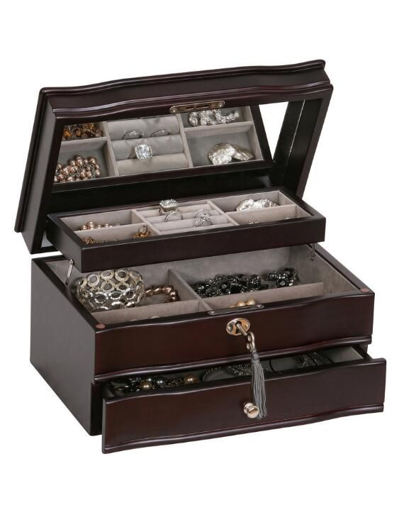 Davina Locking Wooden Jewelry Box In, Safekeeper Footed Mirror Jewelry Cabinet