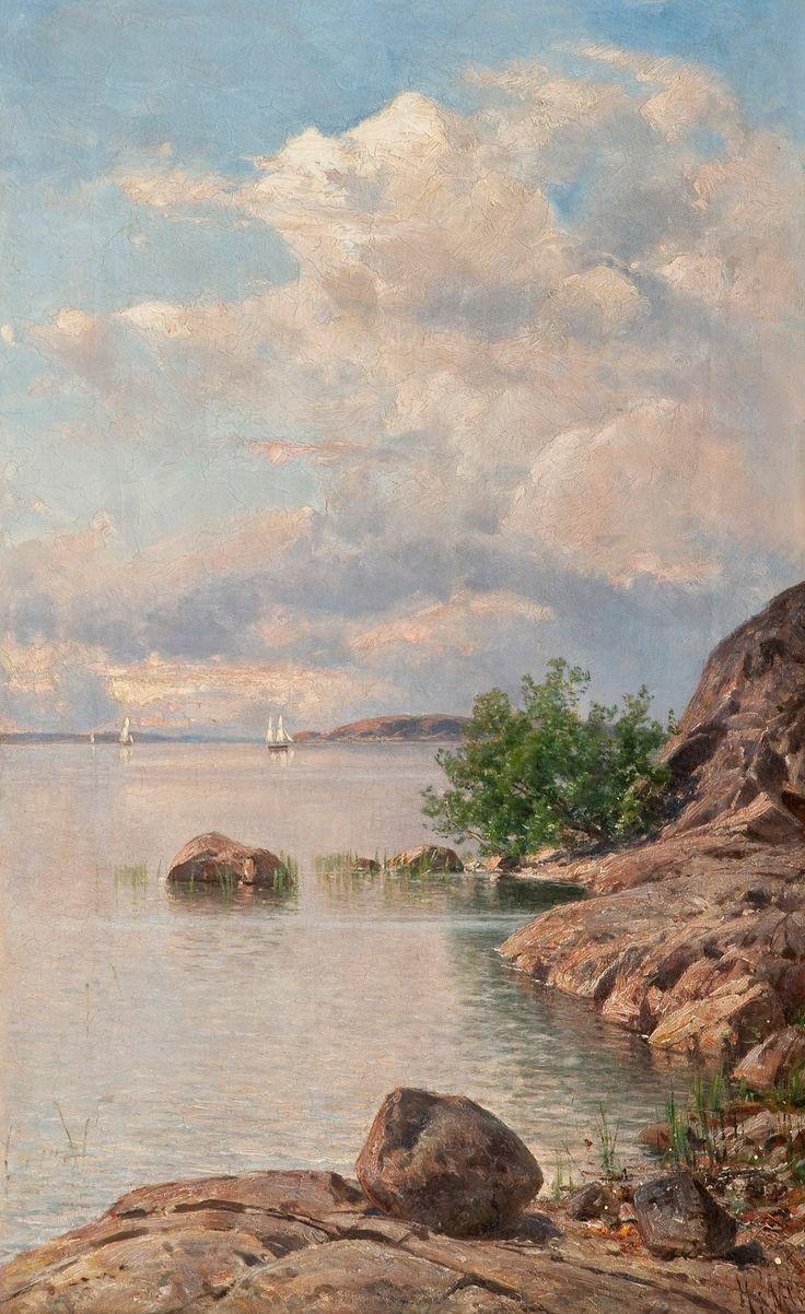KESÄPÄIVÄ SAARISTOSSA by  Hjalmar Munsterhjelm  (19 October 1840 Tuulos – 2 April 1905 Helsinki), Finnish painter.  - http://en.wikipedia.org/wiki/Hjalmar_Munsterhjelm ||   at #Bukowskis