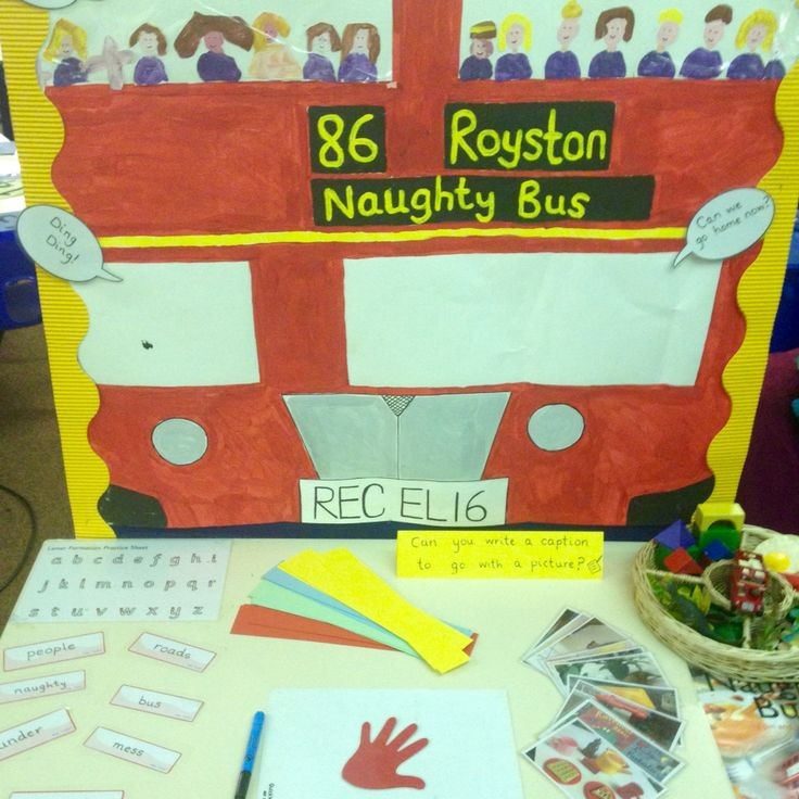 Writing table (The Naughty Bus) - can you write a caption.