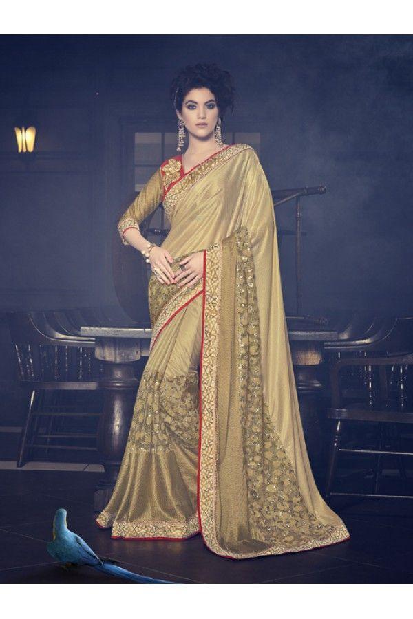 Party Wear Golden Net Saree  - 16602
