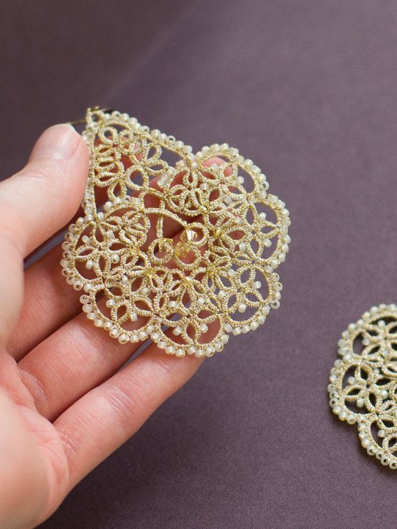 Bridal lace earrings Early spring  with by JewelryLaceHouse