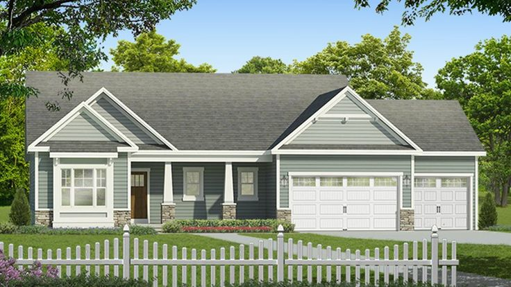 Home Plan HOMEPW77791 - 1737 Square Foot, 3 Bedroom 2 Bathroom Ranch Home with 3 Garage Bays | Homeplans.com