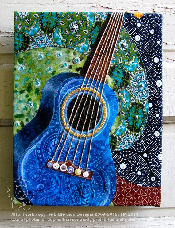 Louisa 39 s blue guitar fabric collage wall art by for Collage wall art ideas