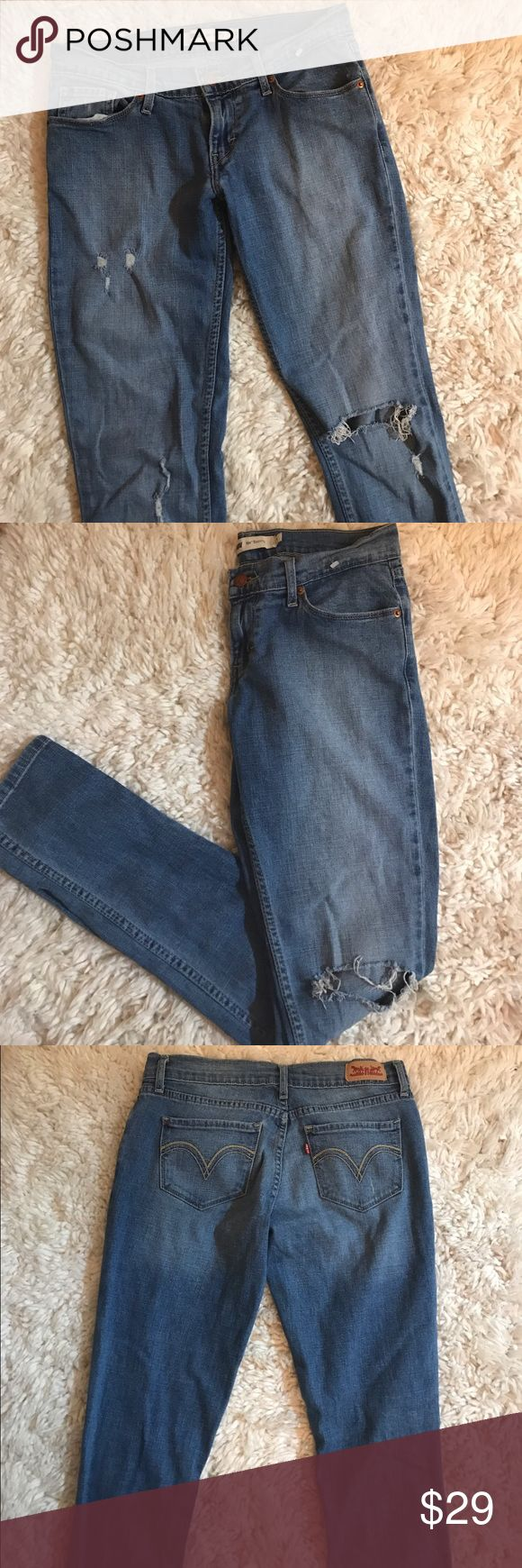 FINAL SALE Levi's 524 Skinny Jean NWOT never washed or worn, smoke and pet free home. Medium wash ripped skinny jeans from Levi's. Stretchy material. SIZE 3. Fits size 26-27. First picture shows all the rips it has. Make an offer!💕 Levi's Jeans Skinny