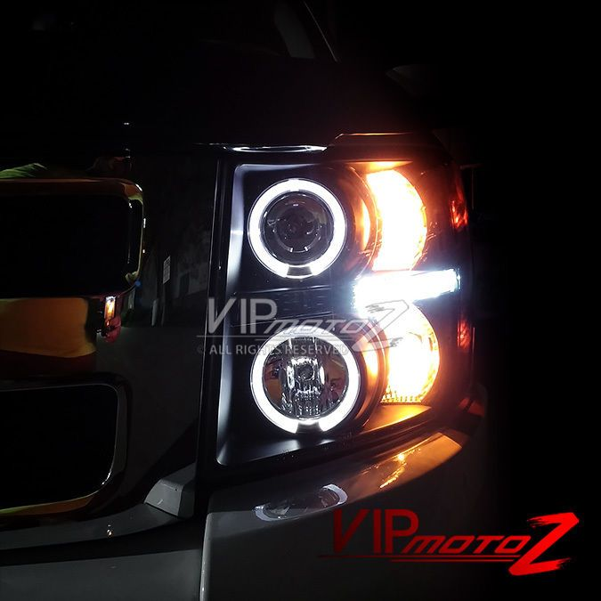 #2007 #2008 #2009 #2010 #2011 #2012 #2013 #Chevy #Chevrolet #Silverado #Black #Halo #LED #Projector #Headlight #VIPMOTOZ