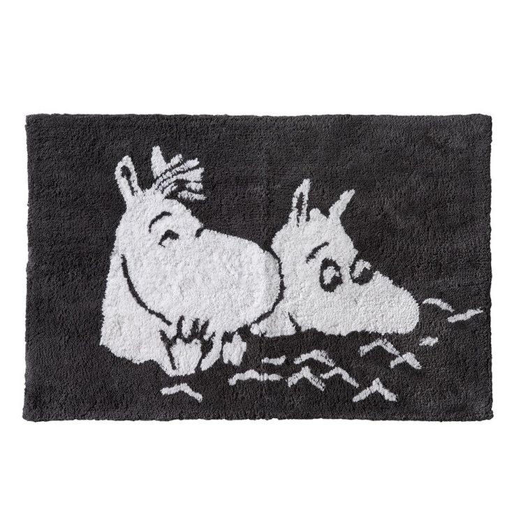 Moomintroll and Snorkmaiden bathing bathroom rug grey by Finlayson - The Official Moomin Shop