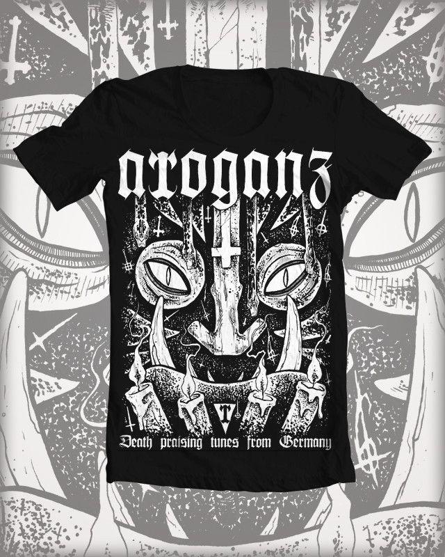shirt artwork for the blackmetal /deathmetal band 'arroganz' by glönn
