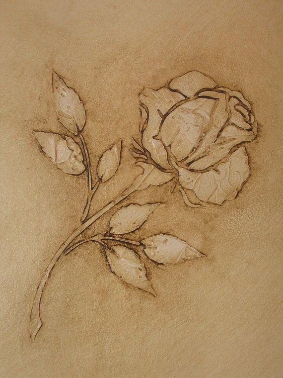 Raised Plaster Single Rose Stencil, Wall Stencil, Painting Stencil, Craft Stencil via Etsy