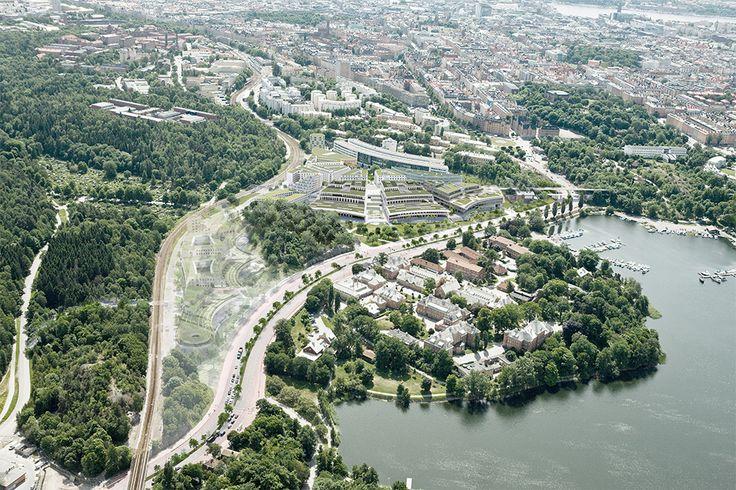 Flyperspektiv över Albano, Stockholm. Byggstart 2016. Färdig 2020. Arkitektskiss: BSK Arkitekter