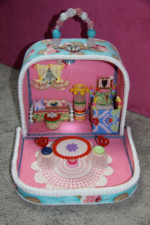OOAK Handmade Carry Doll House & Furniture  for that by SUGARSHE, $200.00