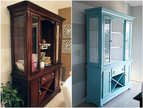 IHeart Organizing: Our New-To-Us Painted Dining Room Hutch    i cannot believe this hutch makeover...just wow