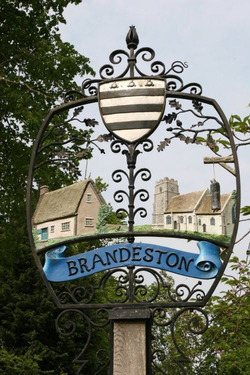 The Village Sign of Brandeston, Suffolk, England
