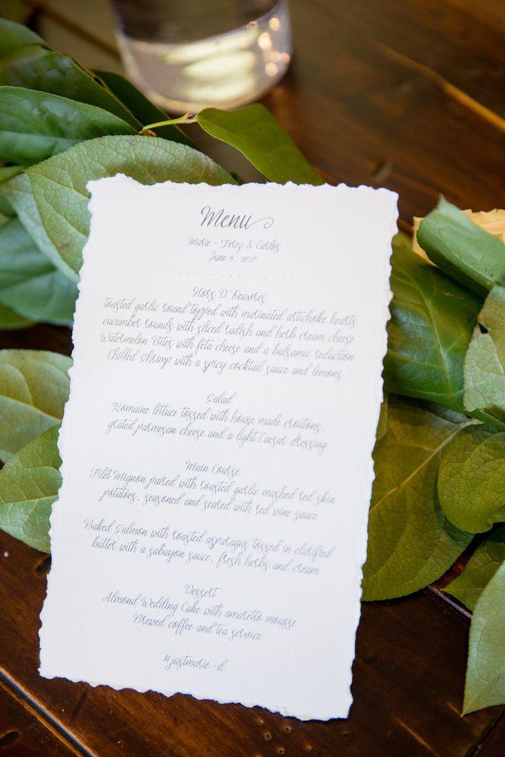 wedding invitation mint green%0A Hand Torn Linen Wedding Menus www andreaeppolitoevents com Las Vegas Wedding  Planner Andrea Eppolito