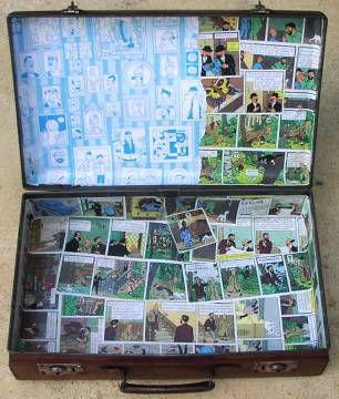valise décor intérieur Tintin ancienne