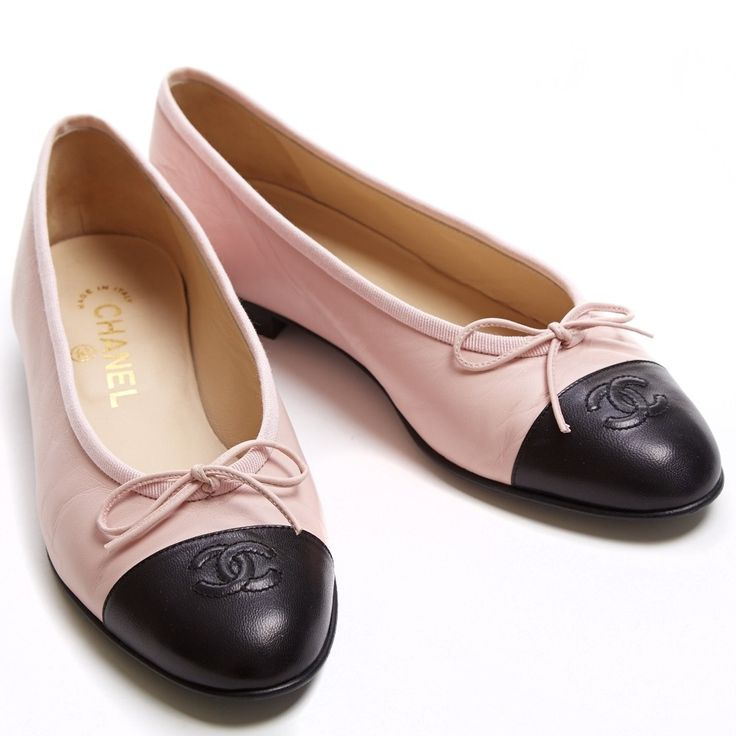 Chanel Pink and Black Classic Ballet Flats 38.5