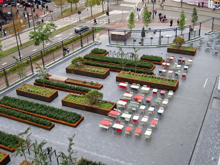 mathildeplein eindhoven - raised planters, plaza, square, cafe seating