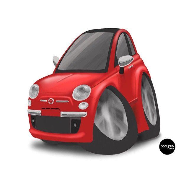 Fiat 500 ❤️ Primeiro desenho feito completamente no iPad, com canetinha de 2 dólares. Daqui há pouco posto o vídeo time-lapse pra vocês verem. Estou feliz e recomendo o iPad como substituto da Cintiq, principalmente com o app Procreate e uma caneta wacom creative stylus 1 ou 2 (a minha ainda está a caminho)! #ipad #cintiq #fiat500 #drawing #sketch #illustrator #fiat #mini #mytoy #car #500