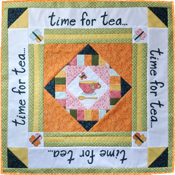 Time For Tea Mini Quilt Pattern- easy machine applique. Makes a perfect table topper or wall hanging! Cute teacup and teapot theme.