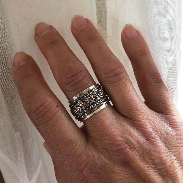 Spinner Ring Serenity Met Koper Brons Juweliers Sterling Zilver Ring