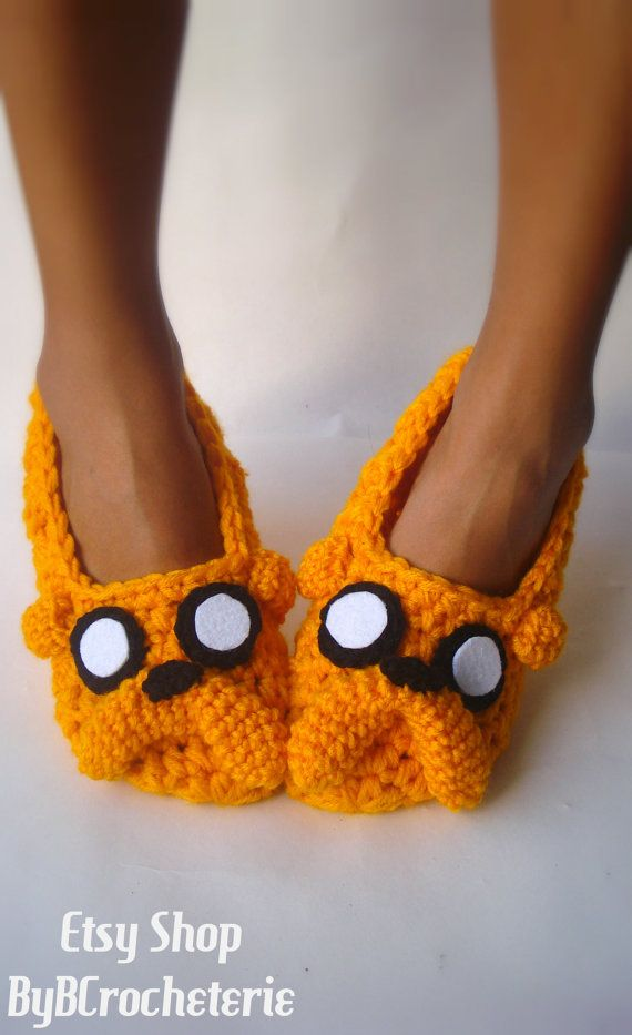 Adventure time Jake the Dog home slippers Women by ByBCrocheterie, $25.00