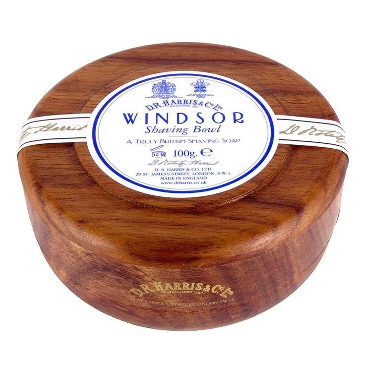 D.R. Harris Windsor Shaving Soap in Mahogany Color Wood Bowl
