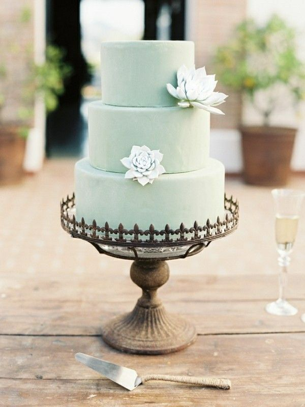 wedding cakes northern new jersey%0A Mint cake accented with succulents