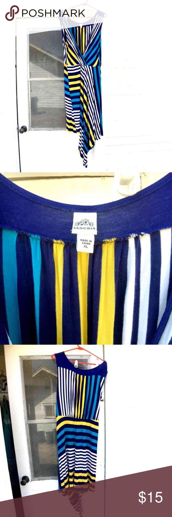 """Asymmetrical hem striped jersey dress Bright, modern jersey dress, made by Sangria. Colors are navy, white, yellow, and teal. Dress is about knee-length, but varies because of the asymmetrical hem. I'm 5'9"""", and the dress hovered just above my knee at its shortest. Very comfortable dress that can be dressed up or down, depending. Worn twice and laundered according to instructions. Non-smoker. Sangria Dresses Asymmetrical"""