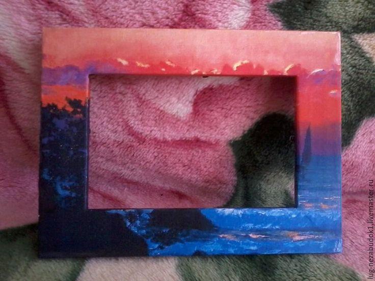 """Купить Рамка для фотографий """"Закат"""" - темно-синий, рамка со стеклом, подарок, подарок девушке"""