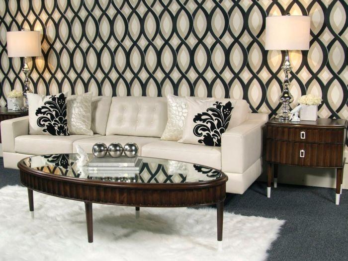 Joli salon avec tapis blanc fausse fourrure et papiers - Tapis fausse fourrure blanc ...