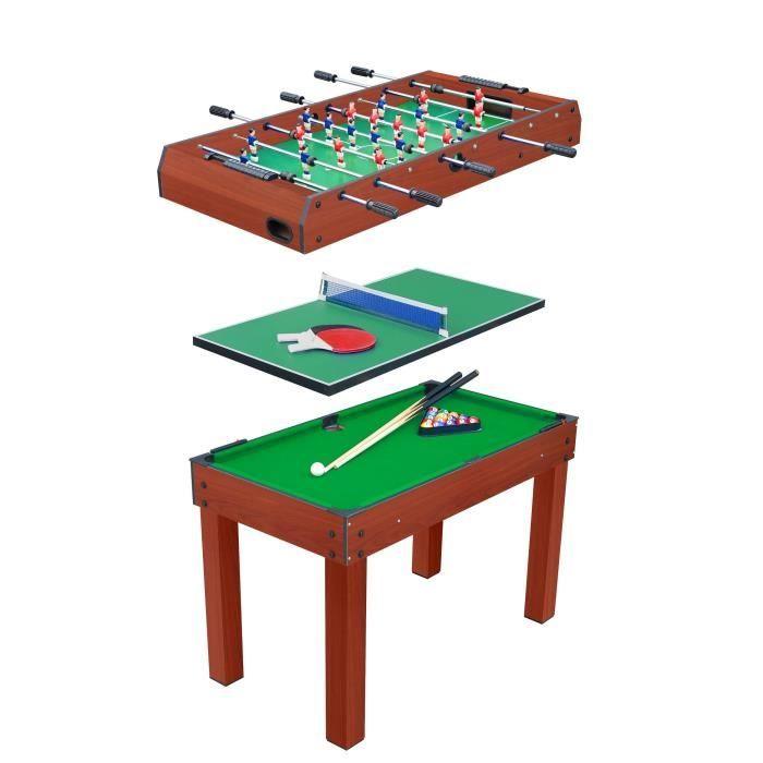 Devessport Table Multi Jeux 3 En 1 Billard Table De Jeux Et