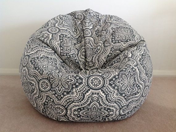 Bean Bag Boho Design Charcoal White By IslandHomeEmporium 7500