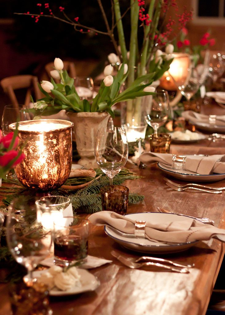 10 images about woodland rustic holiday on pinterest Christmas party table settings
