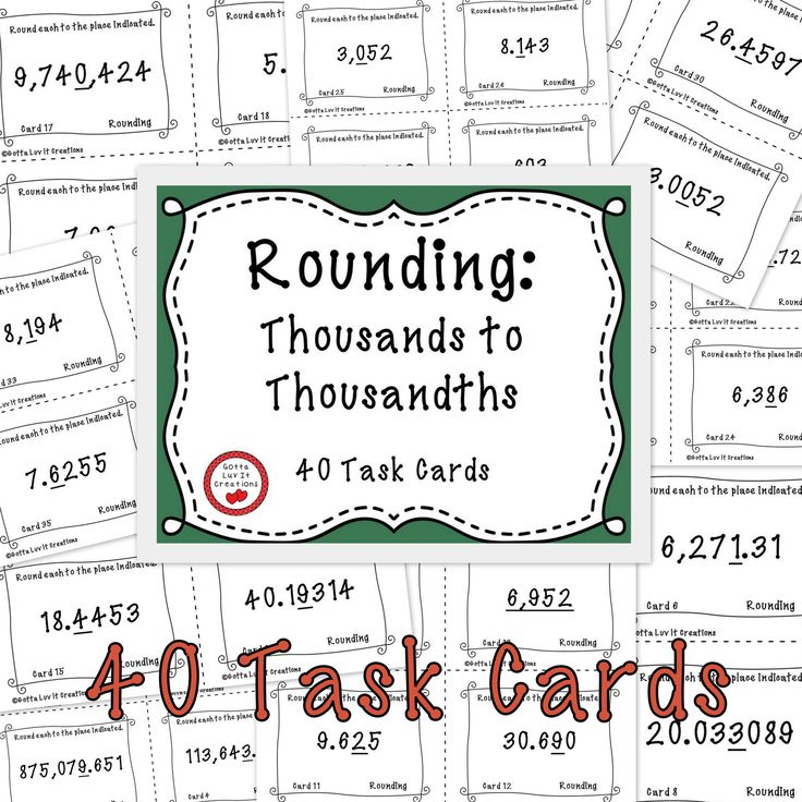 Free!!  40 Task Cards: Rounding Thousands to Thousandths (whole numbers and decimals).  See preview for problem types before downloading. **4 cards per page**  Includes answer key and printable answer recording sheet for students.  This product is printer friendly. No clip art or heavy borders requiring lots of ink!  Suggestions: print on colored paper and laminate to last several years!