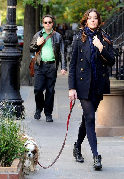 What to Wear: While Walking the Dog // Liv Tyler looking seriously chic in a timeless peacoat and slouchy ankle boots