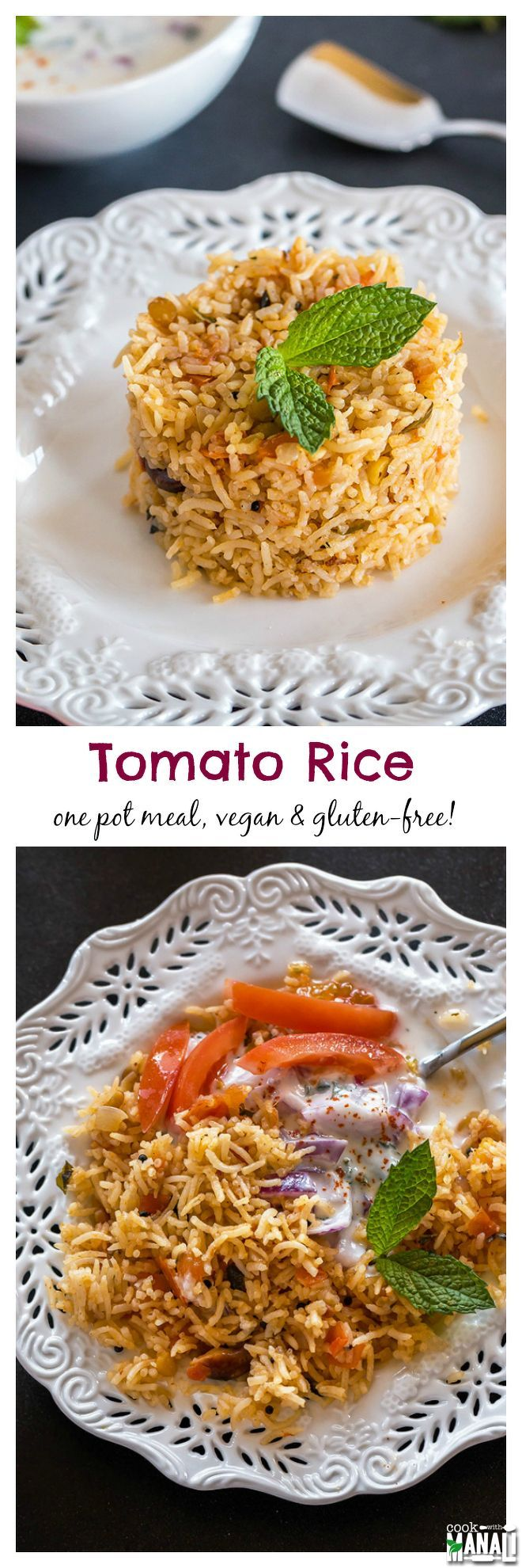 One-pot spicy Tomato Rice. This rice is best enjoyed with raita (yogurt dip) or simply plain yogurt. Vegan & gluten-free! Find the recipe on http://www.cookwithmanali.com