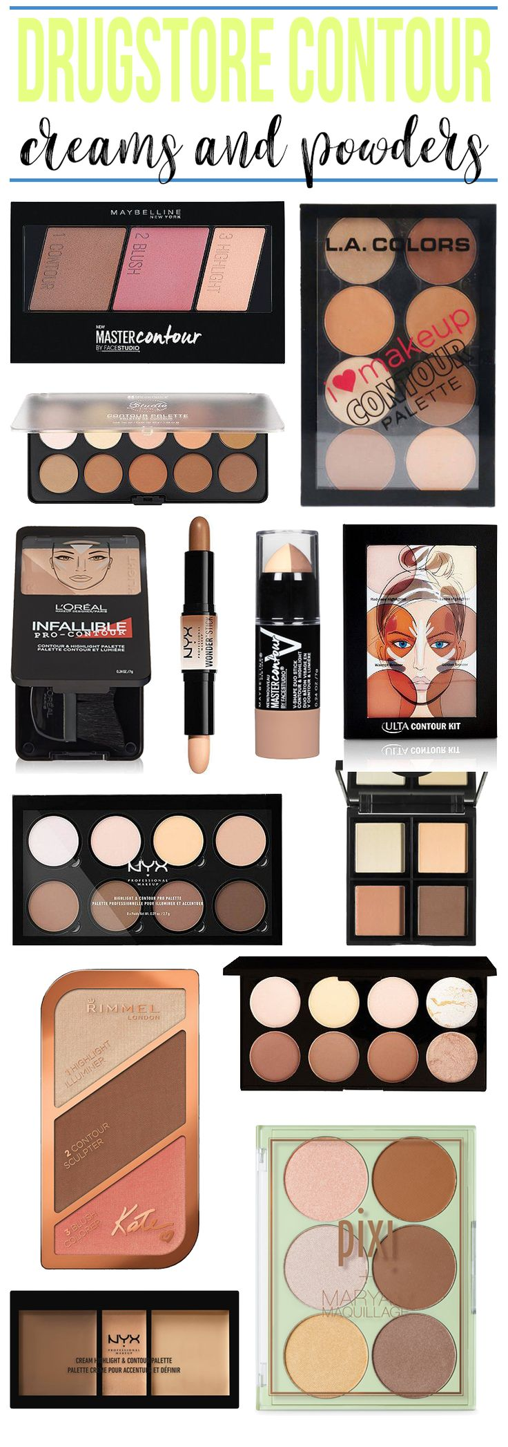 Best Drugstore Contour Creams & Palettes - Hairspray and Highheels http://www.hairsprayandhighheels.net/2017/07/best-drugstore-contour-creams-palettes/