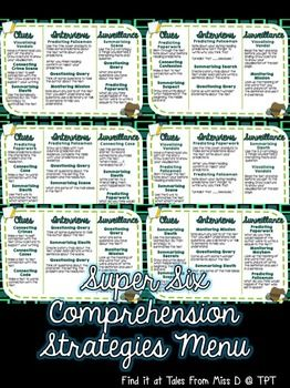 Engage your students in using the Super Six Comprehension Strategies with this fun detective themed menu of activities! 6 menus and an instruction page are included.