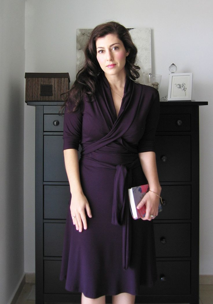 I love this dress, it was made to for me and looks exactly like the photo.   Plum Wrap Dress With Short Or Long Sleeves , Fall / Winter Dress. $98.00, via Etsy.