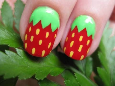 Make your nails look like strawberries. Step by step guide. themarriedapp.com hearted <3 #mani #pedi #nailart