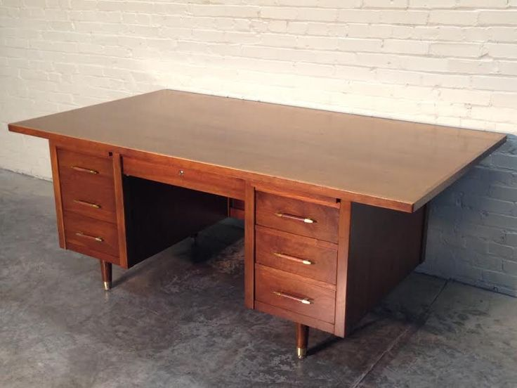 """Awesome Mid-Century Modern Executive Desk - Large Wood Top 42""""  X 76""""  - By Indiana / Great Eames - Mad Men Era Decor by modernmidcenturyfurn on Etsy https://www.etsy.com/listing/206953198/awesome-mid-century-modern-executive"""