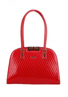 Vera May Handbag - Rosny Red. The Rosny from Vera May is a functional dome shaped handbag with double handles and separate compartments inside. The design features gold accents, a patent finish and separate pockets for organisation.