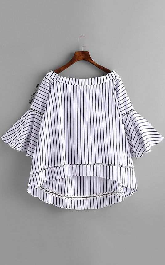 Bardot Bell Sleeve Vertical Striped Blouse. Two colors available.