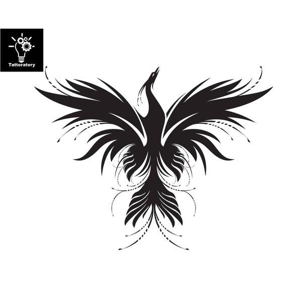 Phoenix Temporary Tattoo Phoenix Tattoo Phoenix Fake Tattoo Firebird Tattoo Tribal Phoenix Tattoo Back Temporary Tattoo Thigh Tattoo Women