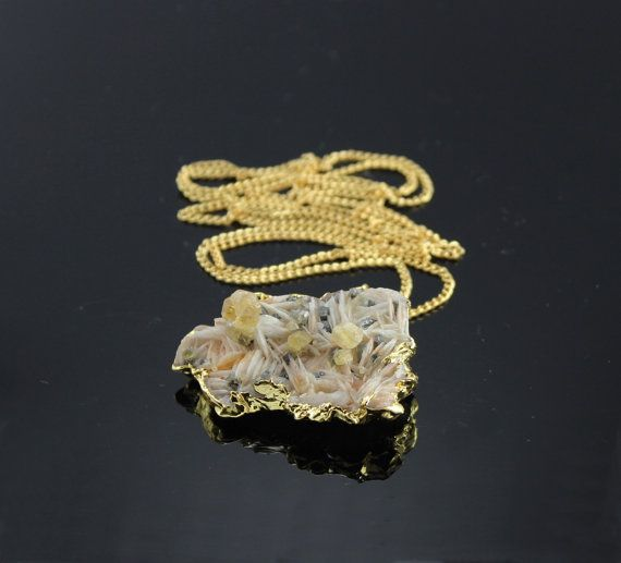 Specimen Necklace gold dipped Barite rough gemstone by minakaja, $59.90